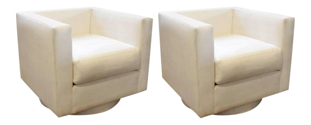 Bon Harvey Probber White Upholstered Tuxedo Swivel Chairs   A Pair For Sale