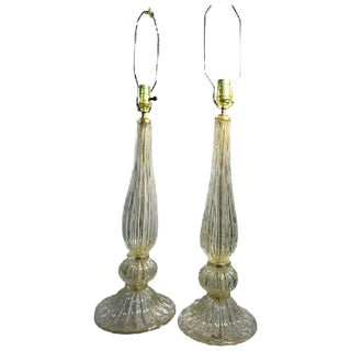 ELEGANT PAIR OF SEGUSO MURANO GLASS GOLD LEAF BULLICANTE GLASS TABLE LAMPS For Sale