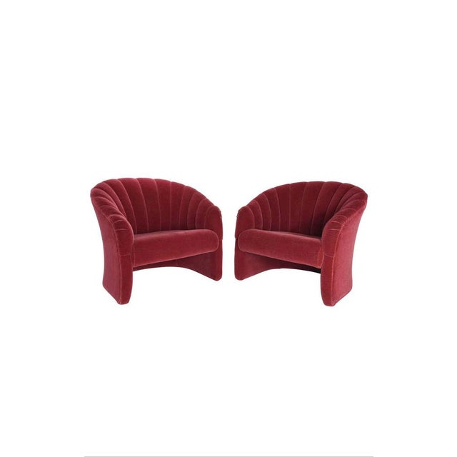Red Mohair Barrel Back Lounge Chairs, 1970 - a Pair For Sale - Image 9 of 9