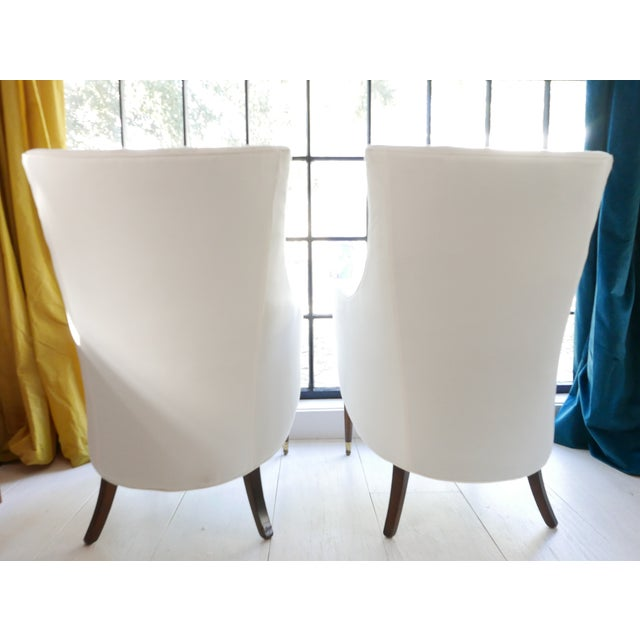 Vintage Mid-Century White Armchairs- A Pair For Sale - Image 4 of 11