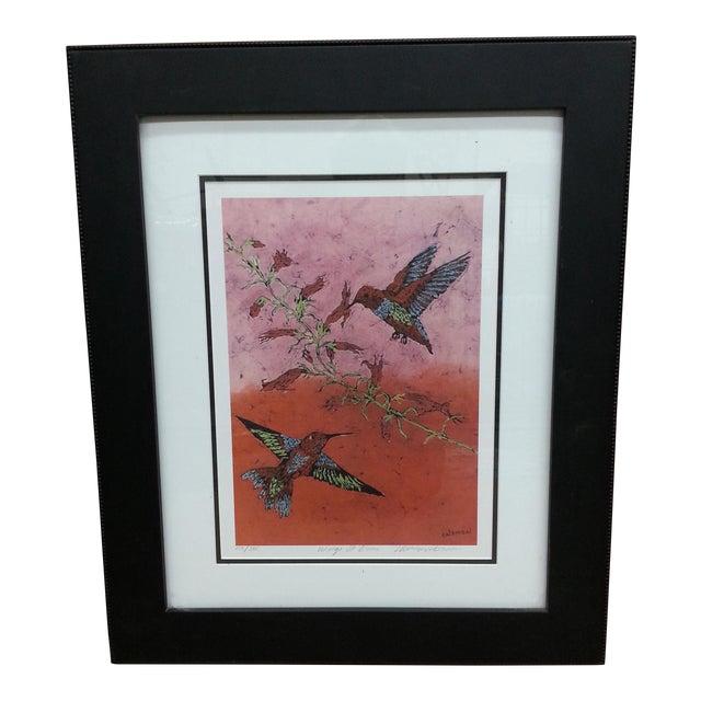 """Marilyn Salomon """"Wings at Dawn"""" Original Batik Print For Sale"""