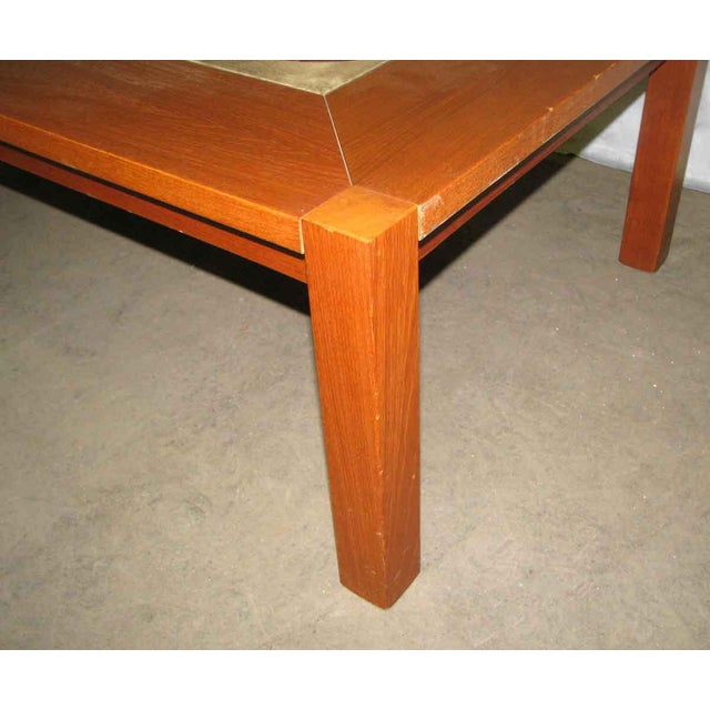 Asian Modern Wooden Coffee Table with Tile Insert For Sale - Image 3 of 10
