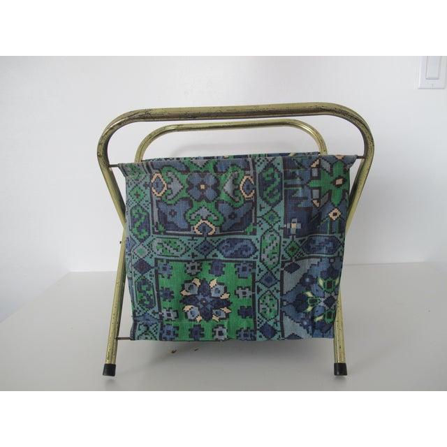 Boho Chic Mid-Century Fabric Magazine Rack For Sale - Image 3 of 5