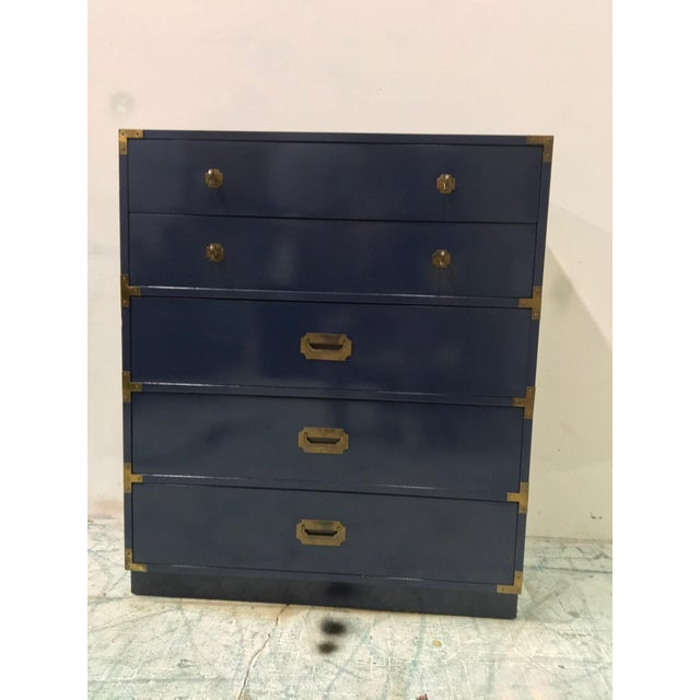 Brass Bernhardt Navy Campaign Style Chest For Sale - Image 7 of 7