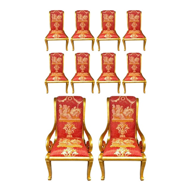 Ten Neoclassical Dining Chairs in Fine Versace Style Fabric For Sale
