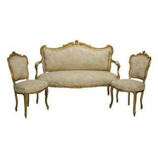 19th Century Louis XV Style Carved Giltwood Salon Set - 3 Pieces For Sale