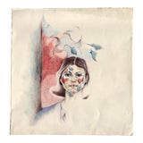 Image of Vintage Pencil Drawing a Woman For Sale