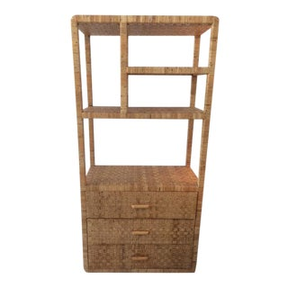 1980s Boho Chic Bielecky Brothers Etagere With Drawers For Sale