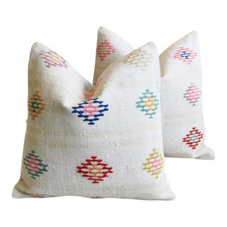 """Turkish Wool & Hemp Carpet Feather/Down Pillows 20"""" Square - Pair For Sale"""