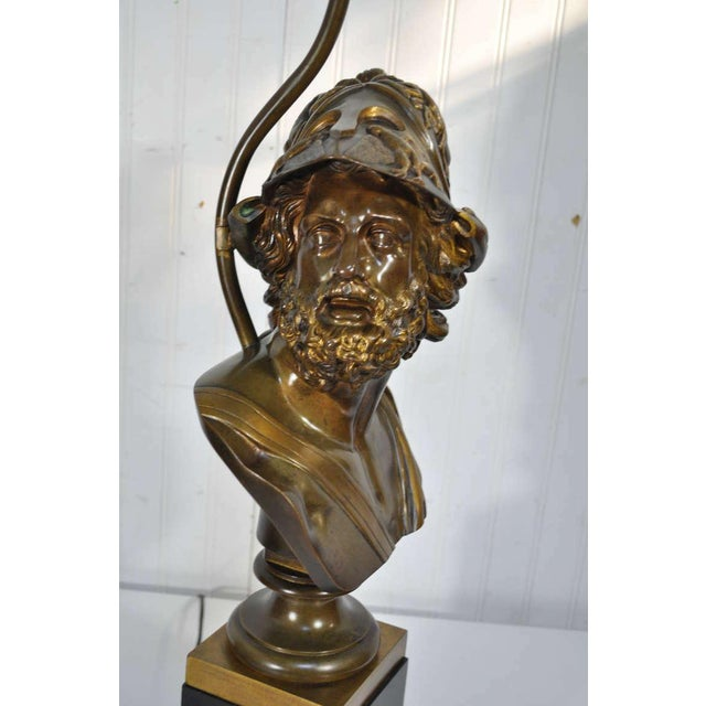 Figurative 19th Century French Patinated Bronze Bust of Trojan War Greek General Ajax Table Lamp For Sale - Image 3 of 10