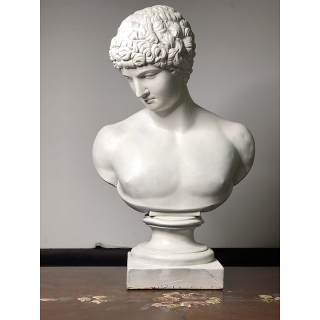 1940s Vintage Neoclassical Style Plaster Bust of Apollo Sculpture For Sale - Image 12 of 12