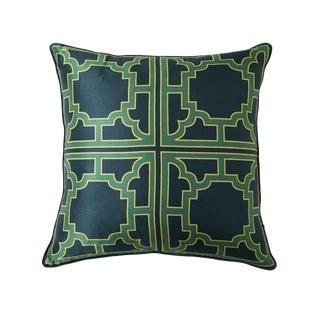 Manette Green Silk Patterned Pillow