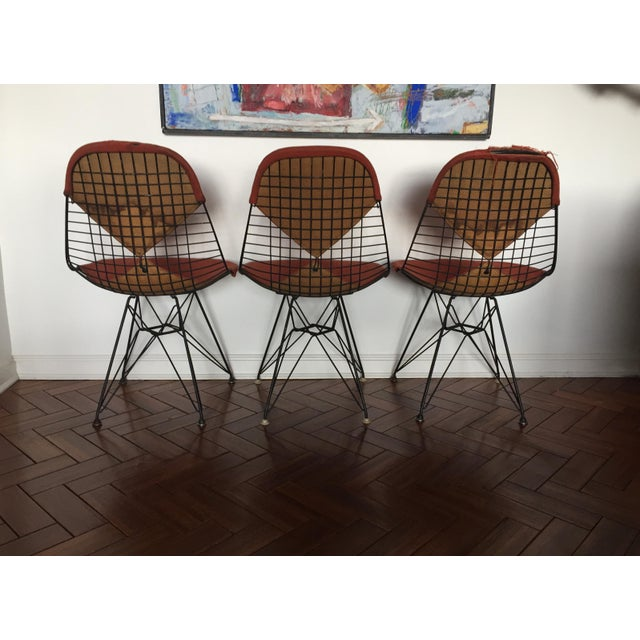 Herman Miller Eames DKR Black Wire Chairs - Set of 3 For Sale - Image 4 of 11