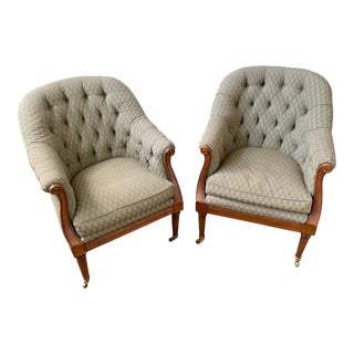 Curved Wood and Button Tufted Broxton Accent Chairs - A Pair For Sale