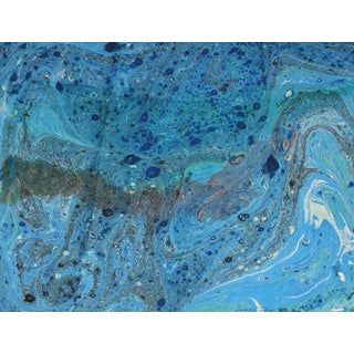 """""""Comsos Ix"""" Abstract Painting in Blue, Oil on Paper, Circa 1979 For Sale"""