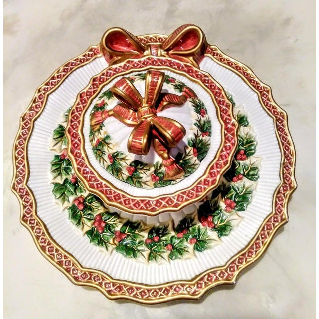 Fitz and Floyd Vintage Fitz and Floyd Christmas Holly Wreath Bow 2 Piece Serving Dish and Sugar Holder For Sale - Image 4 of 8