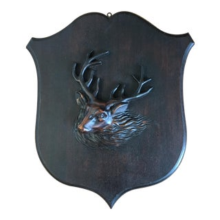 Carved Stag Shield Plaque