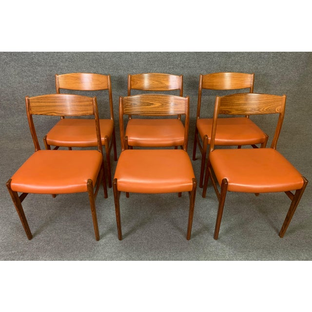 Mid-Century Modern Set of Six Vintage Danish Mid Century Modern Rosewood and Leather Dining Chairs For Sale - Image 3 of 13