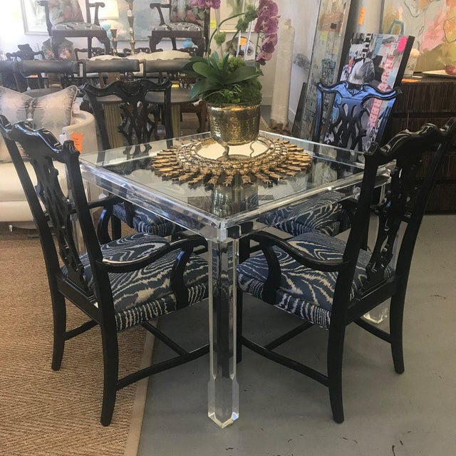 Transparent Vintage Mid Century Modern Lucite and Glass Dining Table For Sale - Image 8 of 10