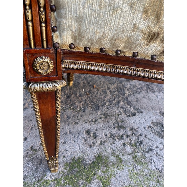 19th Century Vintage French Bronze Mounted Barrel Chair For Sale - Image 4 of 13