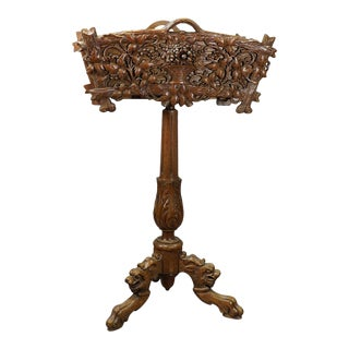 Late 19th Century Rustic Carved Wooden Black Forest Plant Stand, Brienz Ca. 1900 For Sale