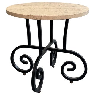 1960s Hollywood Regency Round Travertine and Wrought Iron Side Table For Sale