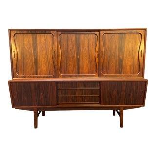 Vintage Danish Mid Century Modern Rosewood Highboard Buffet For Sale