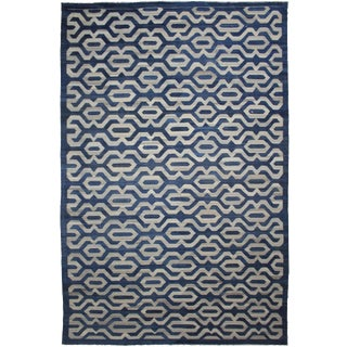 "Hand Knotted Modern Wool & Cotton Kilim Rug - 12'4"" X 17'4"" For Sale"