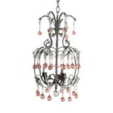 Image of Vintage Italian Beaded Chandelier With Pink Murano Drops For Sale