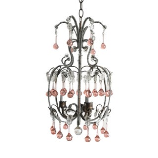 Vintage Italian Beaded Chandelier With Pink Murano Drops For Sale