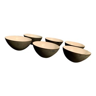 Vintage Mid-Century Herbert Krenchel Krenit Black Matte Enamel Bowls - Set of 6 For Sale