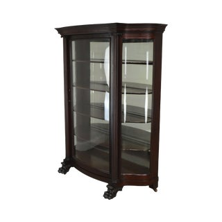 Victorian Mahogany Antique Claw Foot Bow Glass China Display Cabinet For Sale