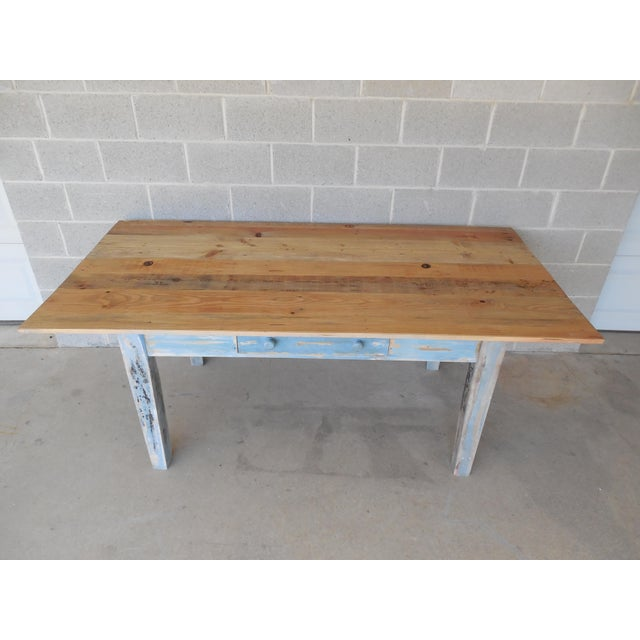 Reclaimed Thin Board Rustic Farm Dining Table - Image 3 of 8