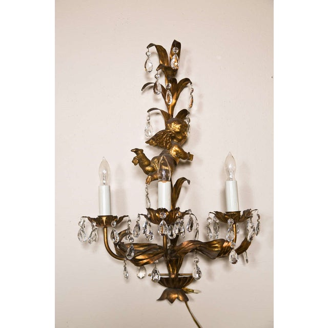 Brass French Gilt-Brass 3-Light Wall Sconces - A Pair For Sale - Image 7 of 8