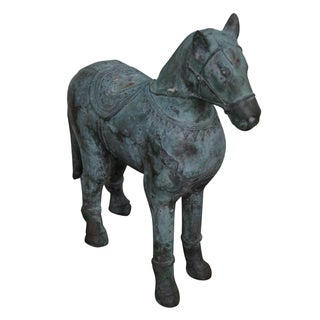 Antique Verde Bronze Chinese Horse Statue For Sale