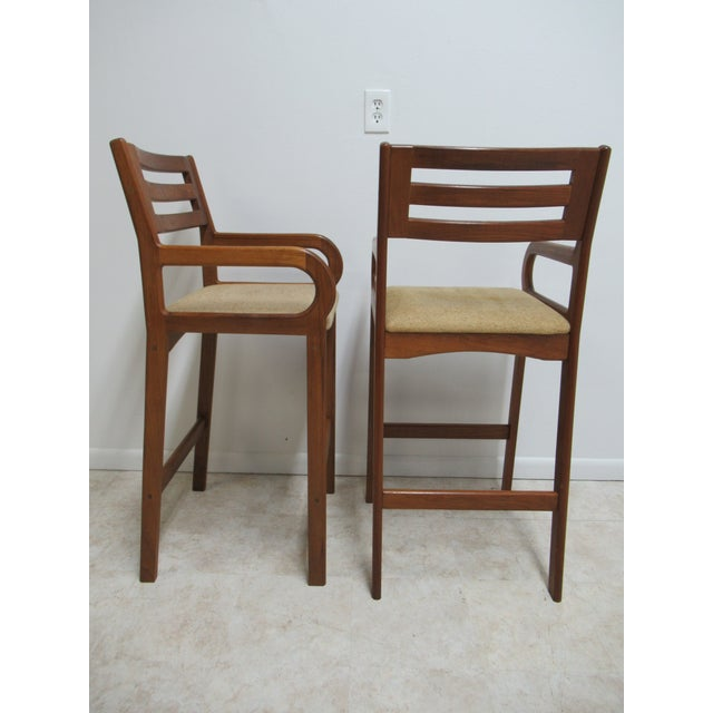 Teak Danish Modern Teak Ladder Back Bar Counter Arm Stools - a Pair For Sale - Image 7 of 12