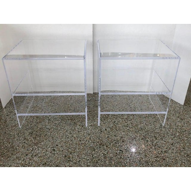 Floor Sample Lucite Nightstands Beveled Top Edges the Pair - Night Stands For Sale - Image 10 of 10
