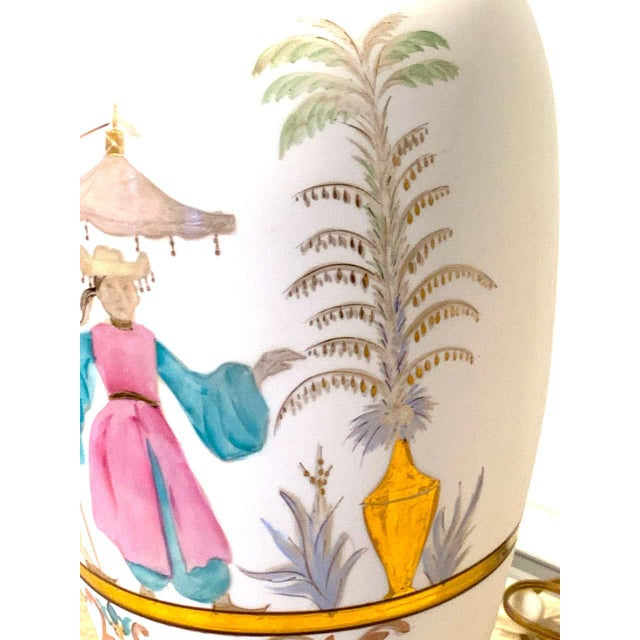 Chinoiserie English Chinoiserie Bristol Opaline Glass Vases, Now as Lamps - a Pair For Sale - Image 3 of 9