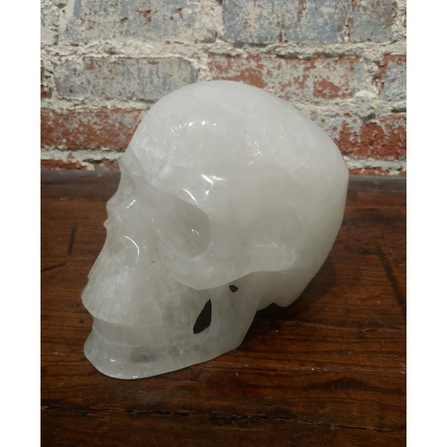 Vintage Quartz Rock Crystal Skull Sculpture For Sale - Image 11 of 11