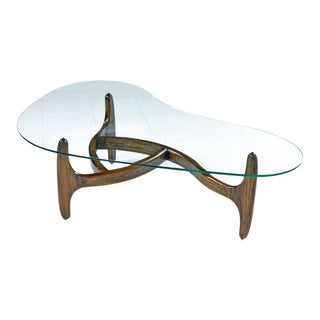 Solid Oak Base Amorphic Kidney Bean Adrian Pearsall Coffee Table With New Glass For Sale