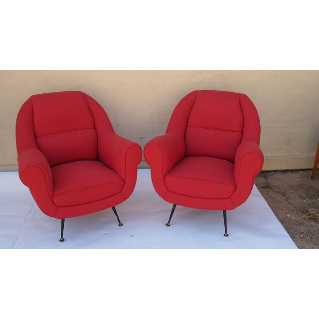 Italian Vintage Upholstered Arm Chairs - A Pair - Image 2 of 4