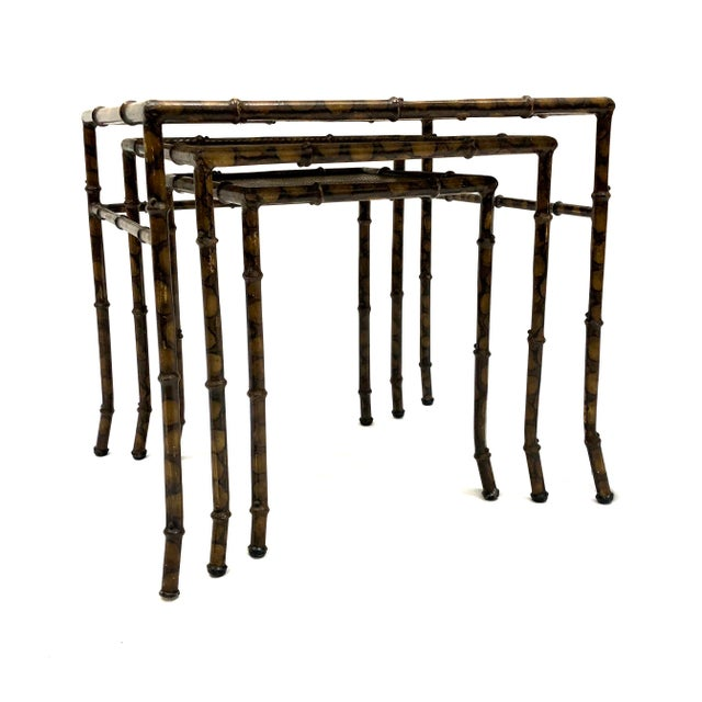 20th Century Chinoiserie Faux Painted Steel Bamboo Nesting Tables - Set of 3 For Sale In New York - Image 6 of 12