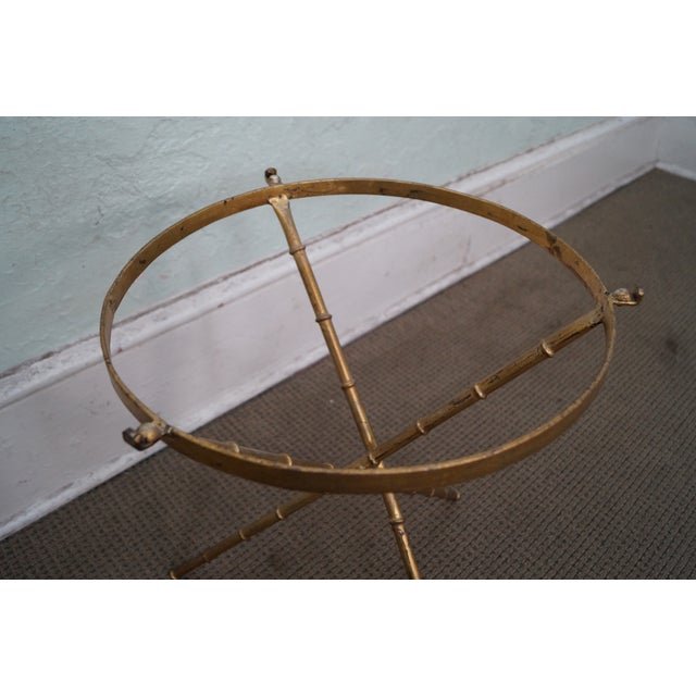 Vintage Gilt Metal Faux Bamboo Side Table For Sale - Image 10 of 10