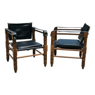 Black Leather Safari Chairs- a Pair For Sale