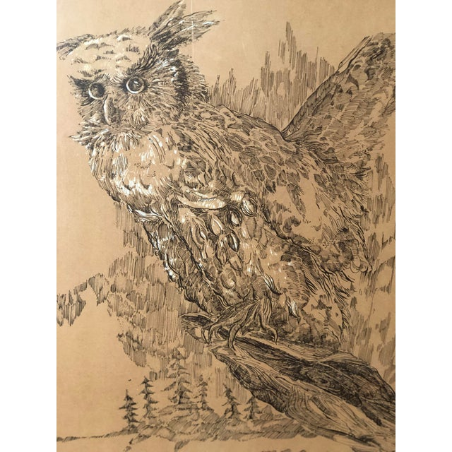 Americana Midcentury Owl Lithograph by Z. Charlotte Sherman For Sale - Image 3 of 8
