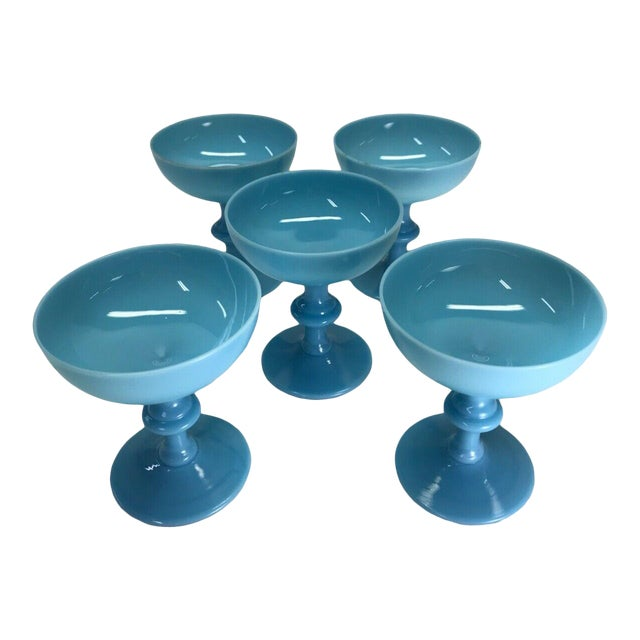 Antique Portieux Vallerysthal Blue Opaline Champagne Glasses/Goblets - Set of 5 For Sale