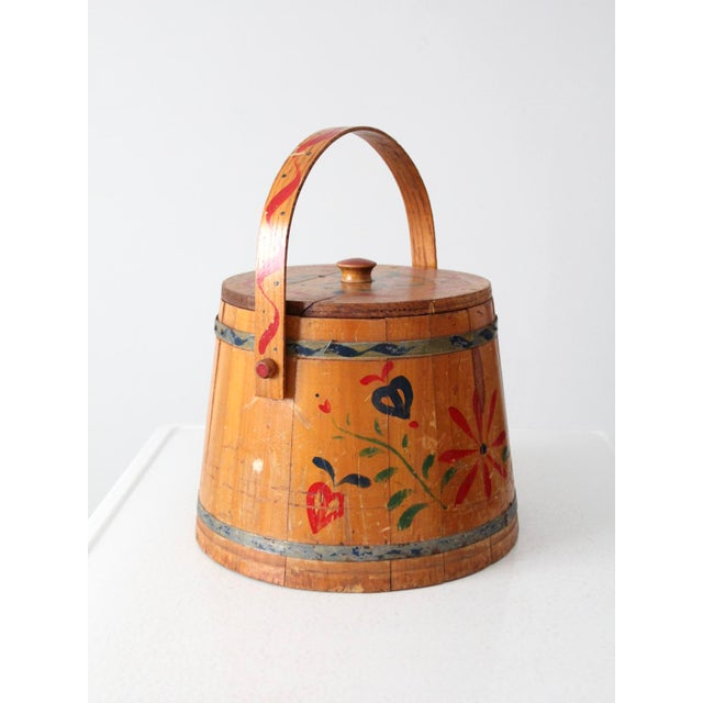 Farmhouse Antique Painted Sugar Bucket For Sale - Image 3 of 10