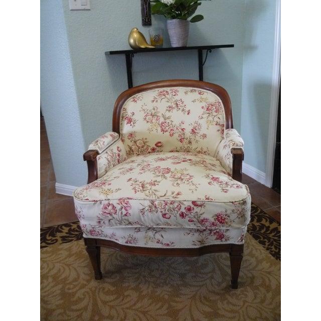 "Hollywood Regency 5th Avenue Designs ""Covington"" Walnut Boudoir Chair For Sale In Austin - Image 6 of 6"