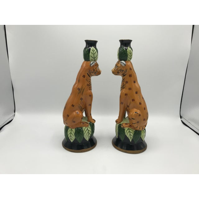 Ceramic 1980s Leopard Sculpture Candlestick Holders, Pair For Sale - Image 7 of 9