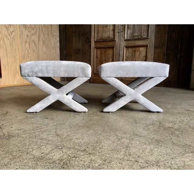 """Mid-Century Modern """"X"""" Base Billy Baldwin Style Benches - a Pair For Sale - Image 10 of 10"""